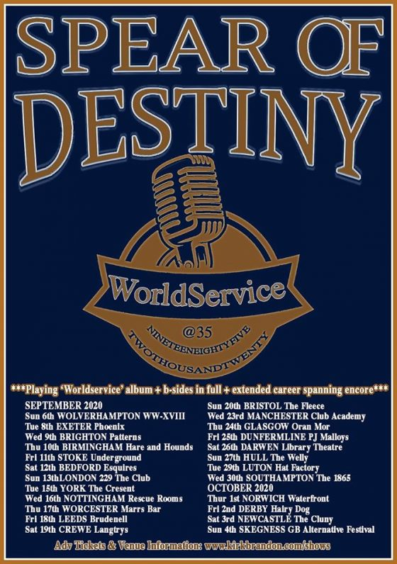 Spear of Destiny World Service 35 Bedford Esquires Saturday 12th September